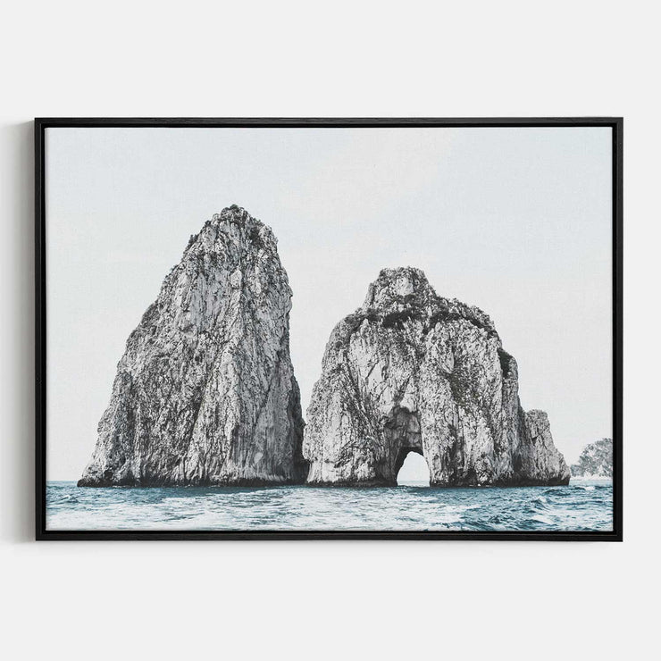 Print Workshop, Canvas Print, Faraglioni Island, Natural Oak Floating Frame, Black Coating
