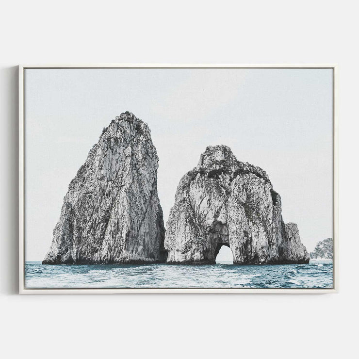 Print Workshop, Canvas Print, Faraglioni Island, Floating Frame, White Smooth Coating