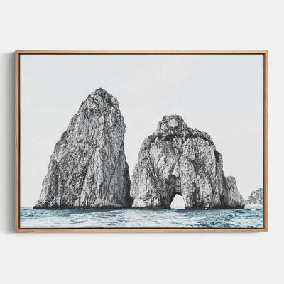 Print Workshop, Canvas Print, Faraglioni Island, Natural Australian Oak Floating Frame