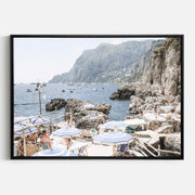 Print Workshop, Canvas Print, Amalfi Holiday, Natural Oak Floating Frame, Black Coating