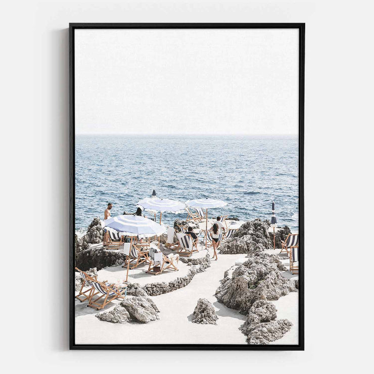 Print Workshop, Canvas Print, Amalfi Summer Time, Natural Oak Floating Frame, Black Coating
