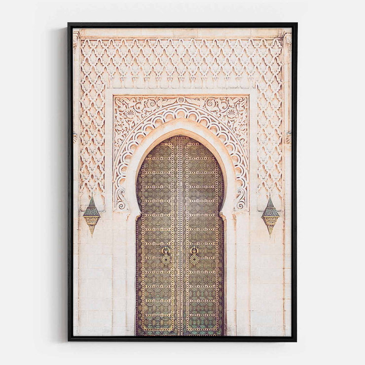 Print Workshop, Canvas Print, Moroccan Arch, Natural Oak Floating Frame, Black Coating
