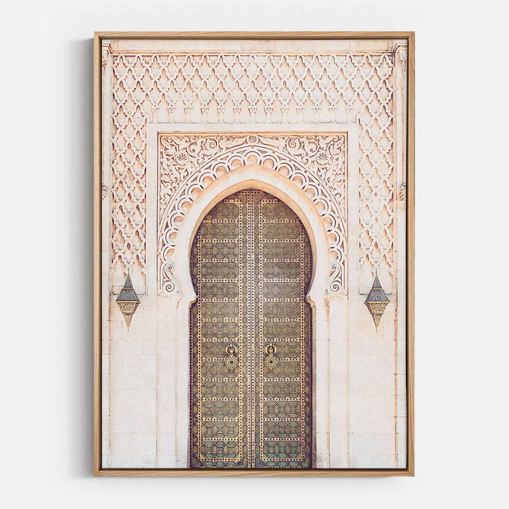 Print Workshop, Canvas Print, Moroccan Arch, Natural Australian Oak Floating Frame