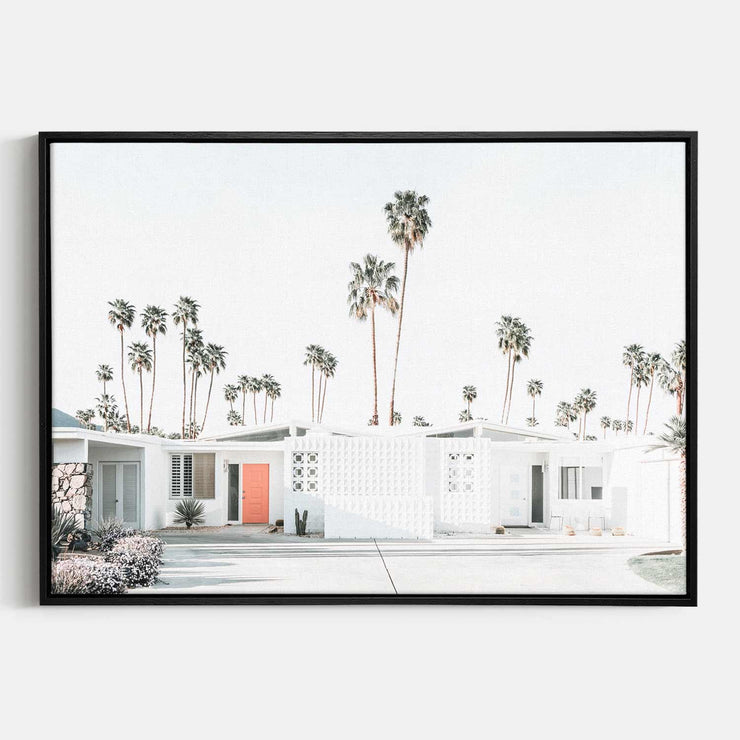 Print Workshop, Canvas Print, Palm Springs Drive, Natural Oak Floating Frame, Black Coating