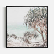 Print Workshop, Canvas Print (Square Size), Pandanus, Natural Oak Floating Frame, Black Coating