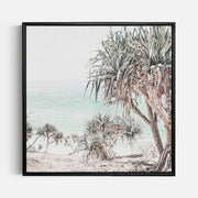 Print Workshop, Canvas Print (Square Size), Pandanus, Floating Frame, Black Smooth Coating