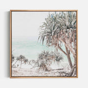 Print Workshop, Canvas Print (Square Size), Pandanus, Natural Australian Oak Floating Frame