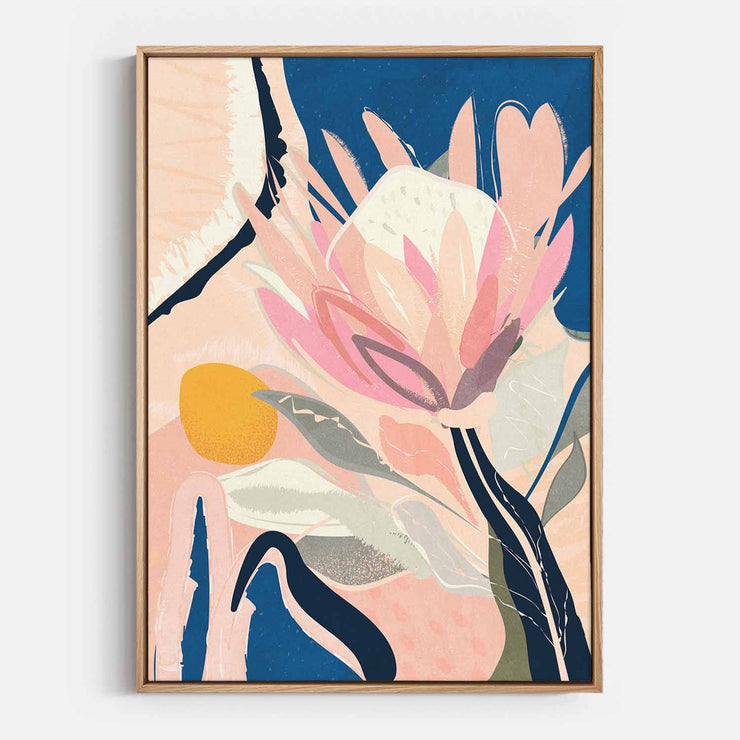 Print Workshop, Canvas Print, Protea And The Sun, Natural Australian Oak Floating Frame