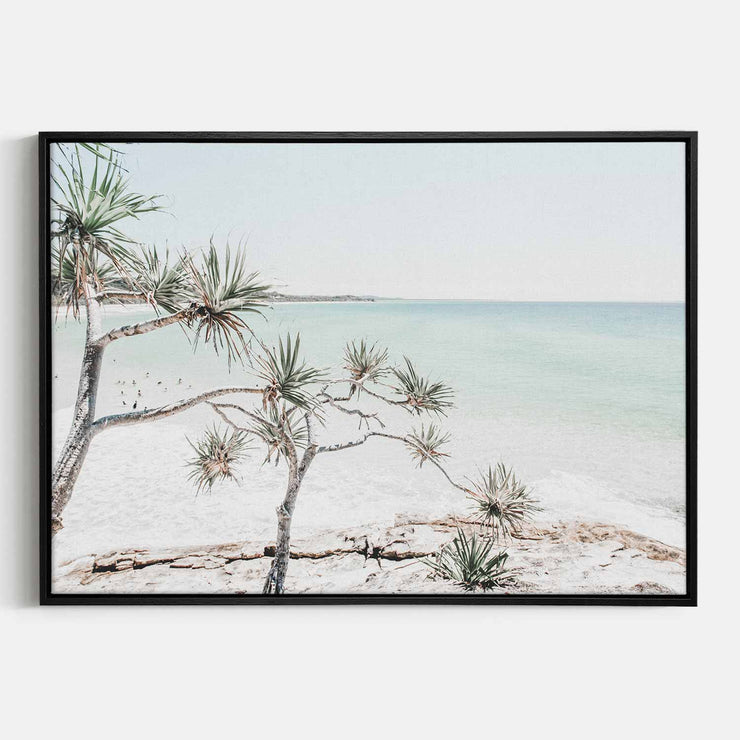 Print Workshop, Canvas Print, Summer Beach View, Natural Oak Floating Frame, Black Coating