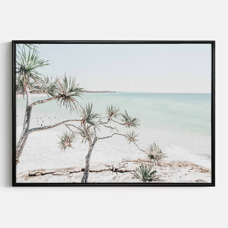 Print Workshop, Canvas Print, Summer Beach View, Floating Frame, Black Smooth Coating