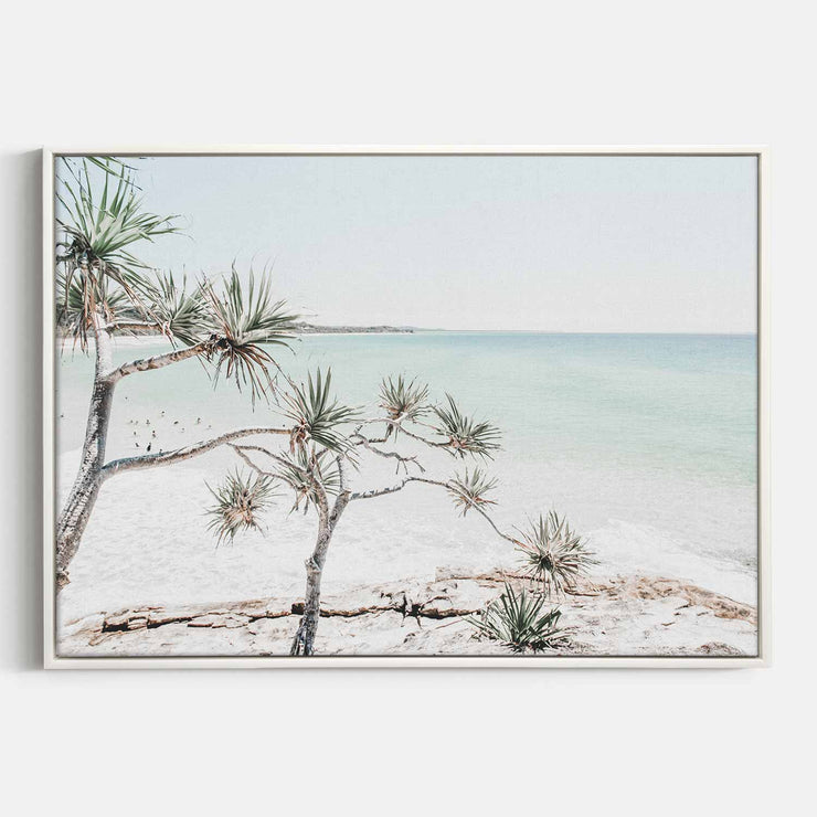 Print Workshop, Canvas Print, Summer Beach View, Floating Frame, White Smooth Coating