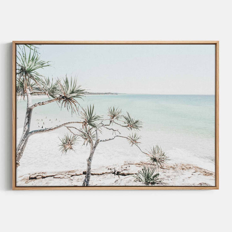 Print Workshop, Canvas Print, Summer Beach View, Natural Australian Oak Floating Frame