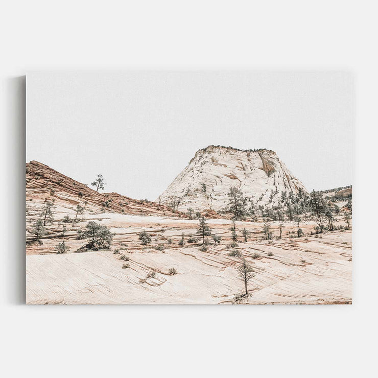 Print Workshop, Beige Mountainscape, Stretched Canvas, No Frame