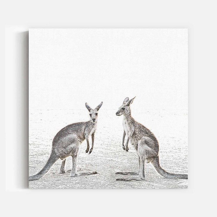 Print Workshop, Two Beach Kangaroos, Stretched Canvas (Square Size), No Frame