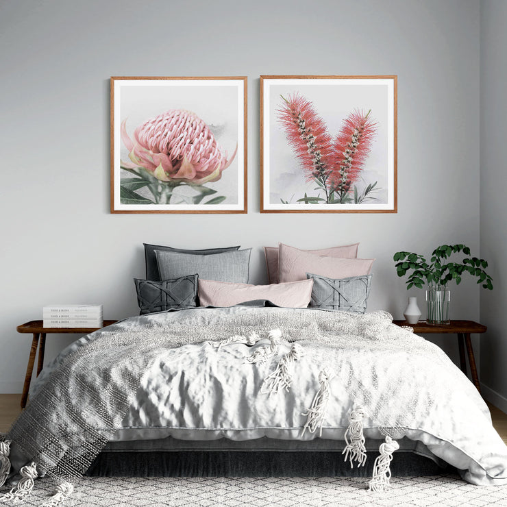 Blooming Waratah & Native Bottle Brush Framed Print Mockup #2