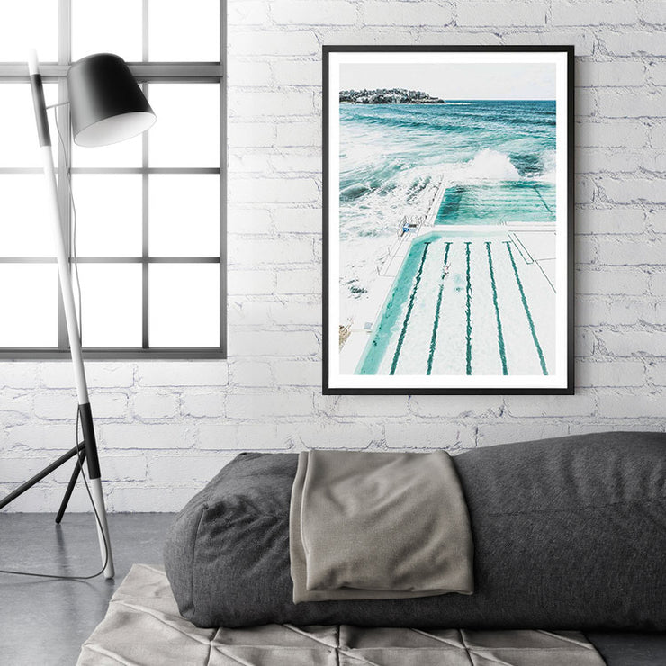 Bondi Beach Pool Framed Print Mockup