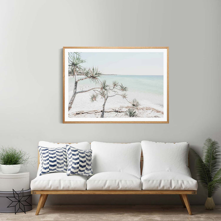 Summer Beach View Framed Print Mockup