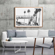 Cali Surf Beach Framed Print Mockup