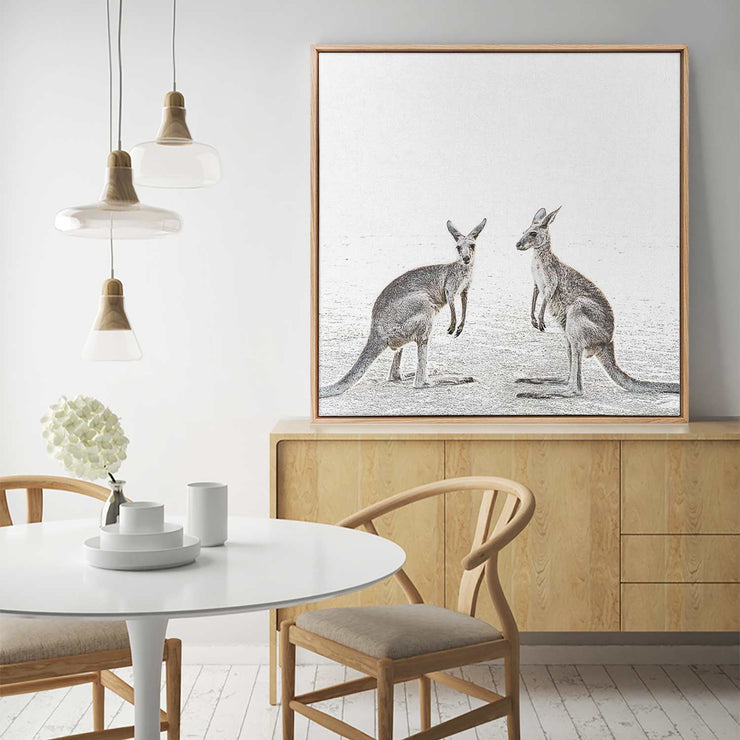 Two Beach Kangaroos Canvas Mockup