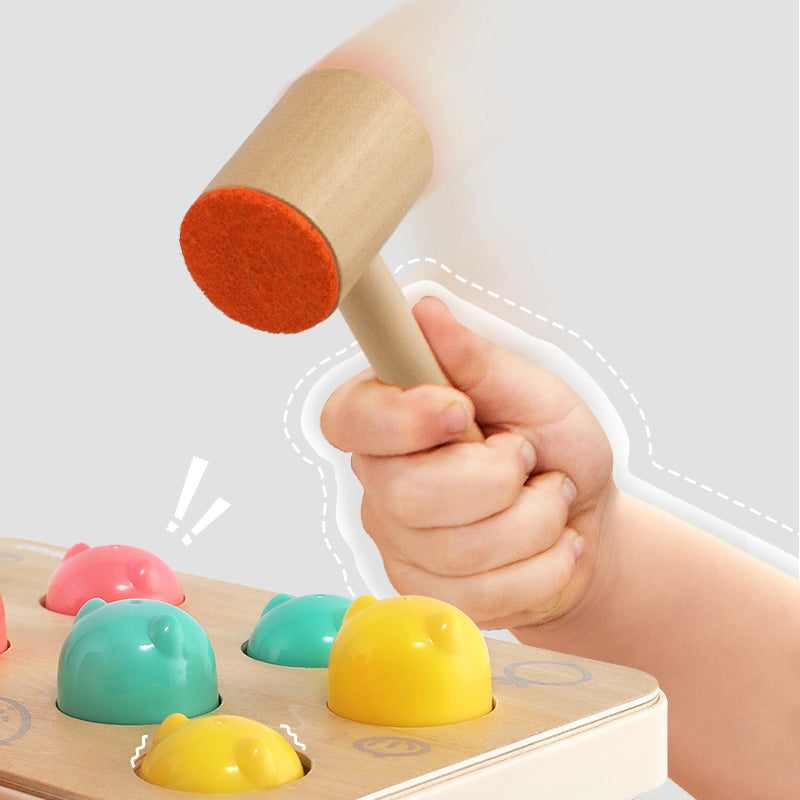 Whack The Mouse Toy Very Funny to Play - Wooden Hammer