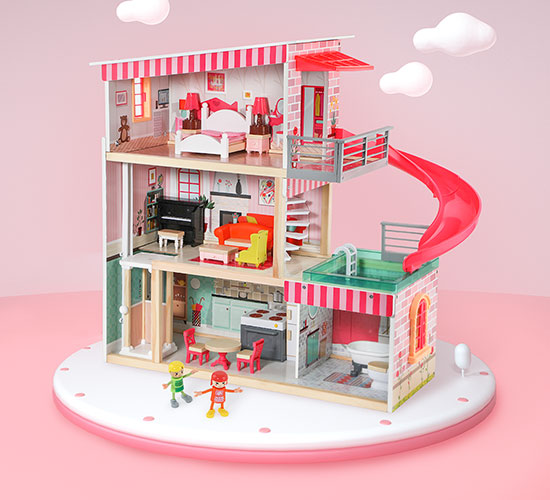 - Dollhouse structure and accessories