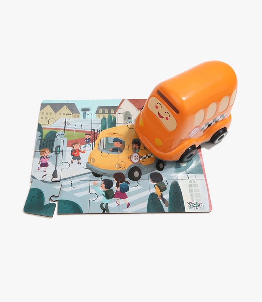 Wooden Puzzles in School Bus