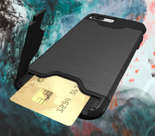 Load image into Gallery viewer, iPhone Hybrid Wallet Card Holder with Kickstand Cover