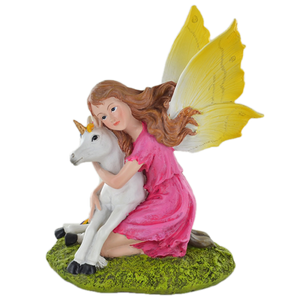 Fairy Comforting Unicorn Figurine Mythical Ornament Fantasy Sculpture