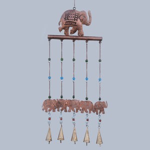 Copper Effect Elephant Wind Chime with Beads and Bells Hanging Decor 77cm