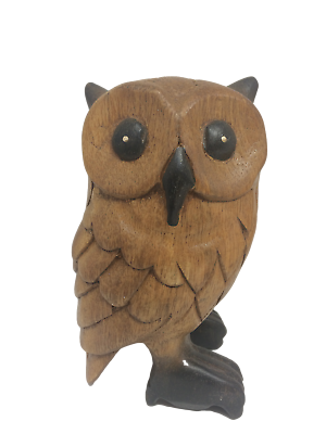 FANTASTIC FAIR TRADE HAND CARVED OWL FIGURINE SCULPTURE FIGURE BRAND NEW