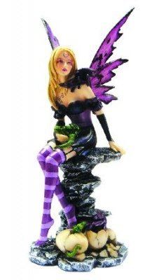 AMETHYST AND HATCHLINGS FAIRY AND DRAGON FIGURINE STATUE SCULPTURE
