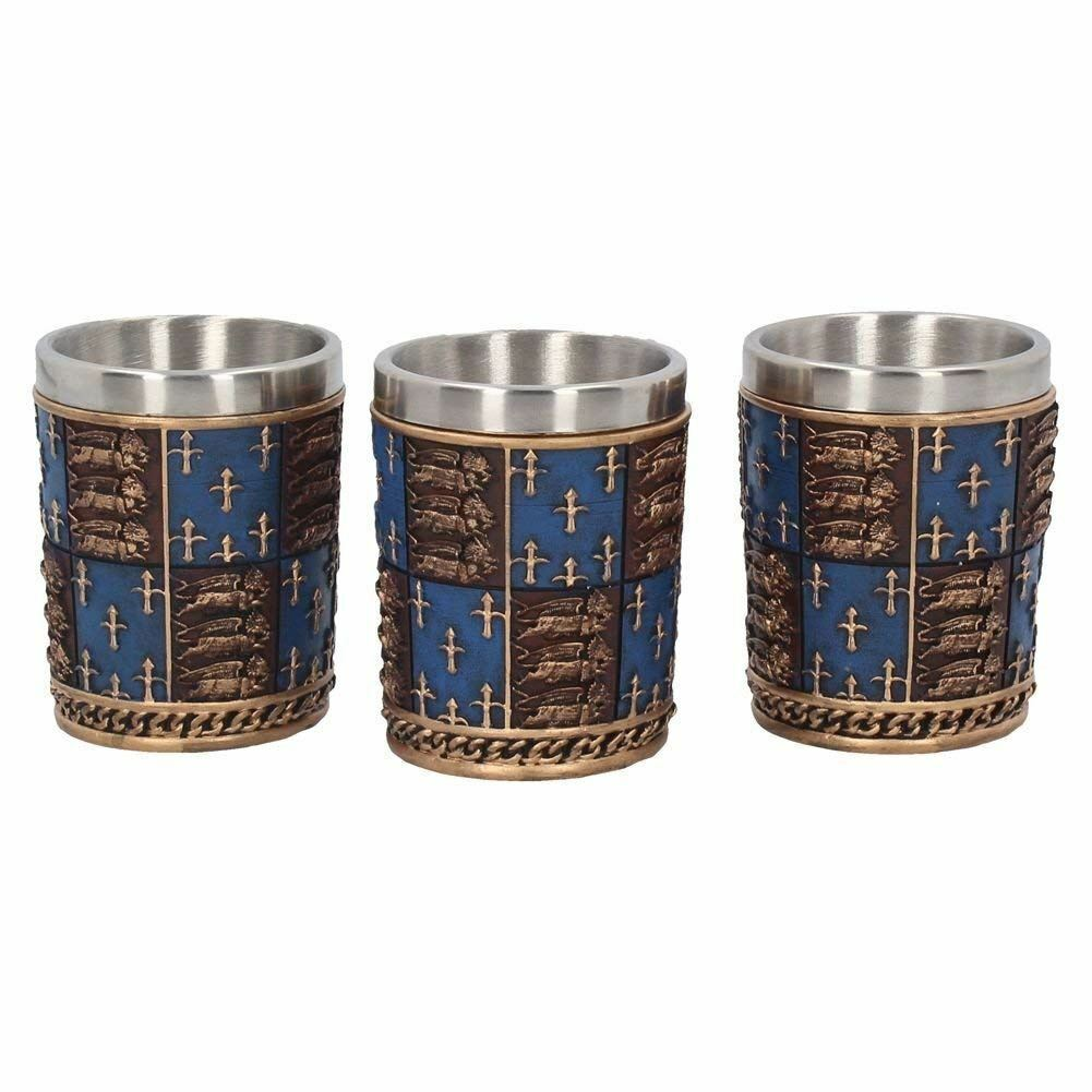 Set of 4 Medieval Style Templar Knights Shot Glasses Crusader Table Ornaments