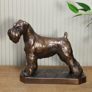 Bronzed Sculpture Schnauzer Dog Statue Figurine Sculpture Dogs Gifts Figures
