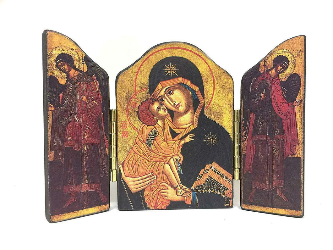 Virgin Mary and Baby Jesus Triptych Picture Icon Religious Wall Plaque Decor