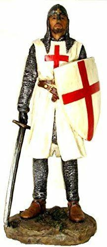 Templar Knight Standing with Sword & Shield Figurine Crusader Statue Ornament