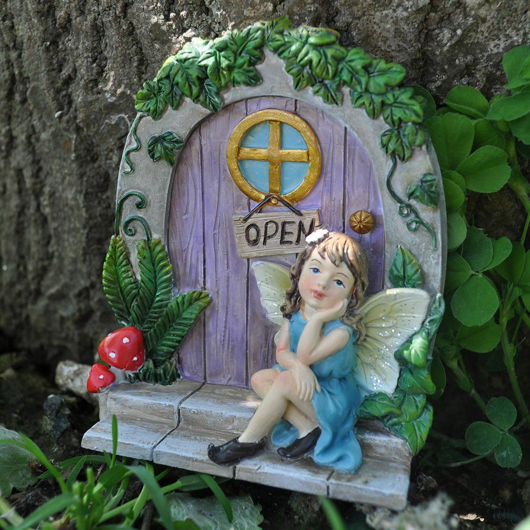 Fairy Door Garden Ornament Tree Home Decoration Gift Figurine Pixie Figure