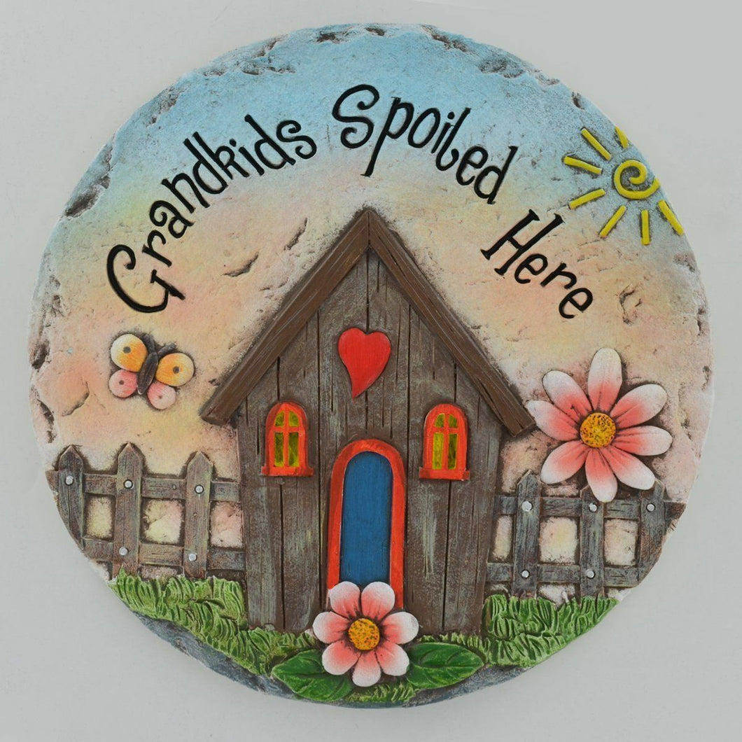 Grandkids Spoiled Here Stepping Stone Wonderful Garden Ornament Wall Plaque Gift