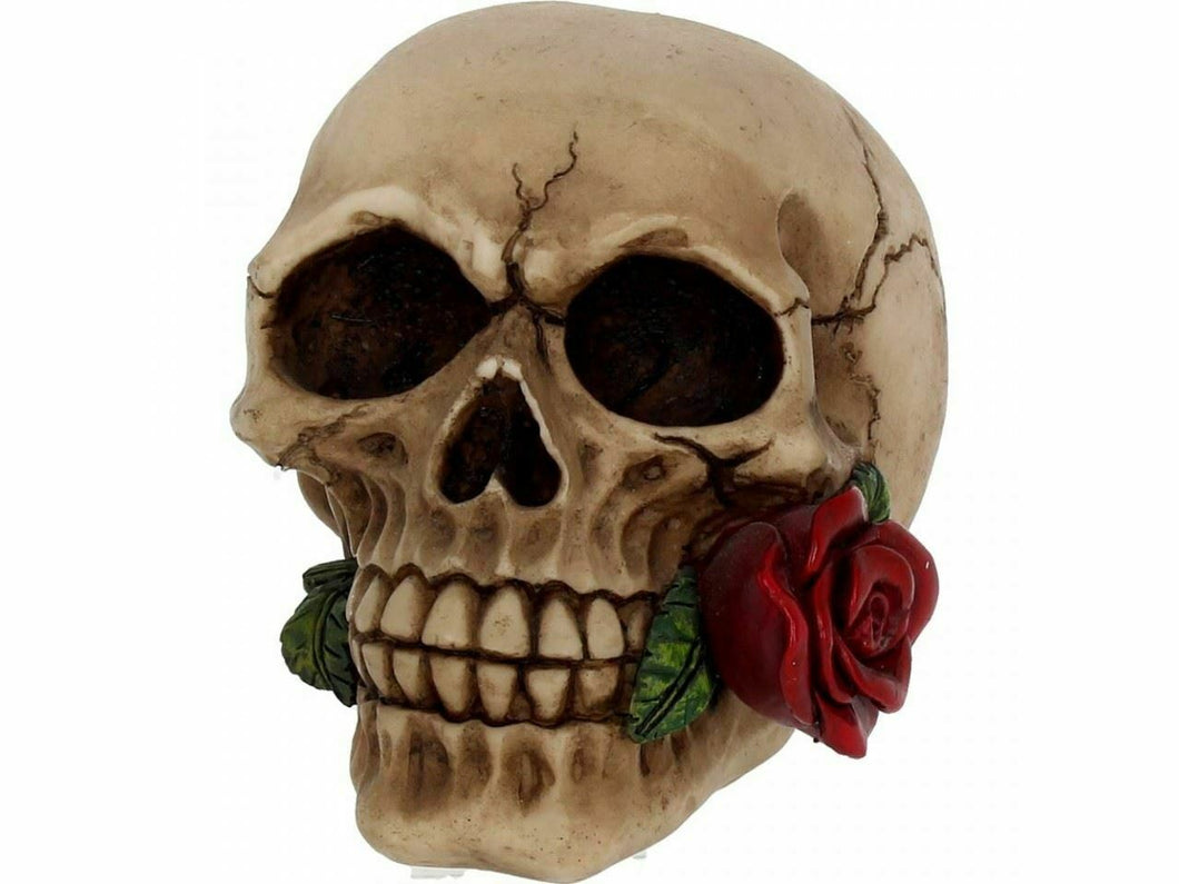SMALL GOTHIC SKULL WITH ROSE ORNAMENT SCULPTURE FIGURINE 11 CM