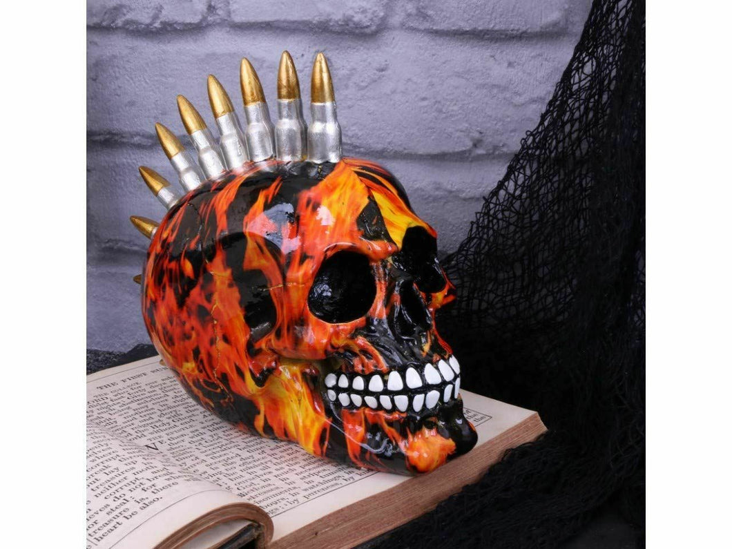 Inferno Fire Print Bullet Skull Figurine Gothic Sculpture Figure 18.5 cm