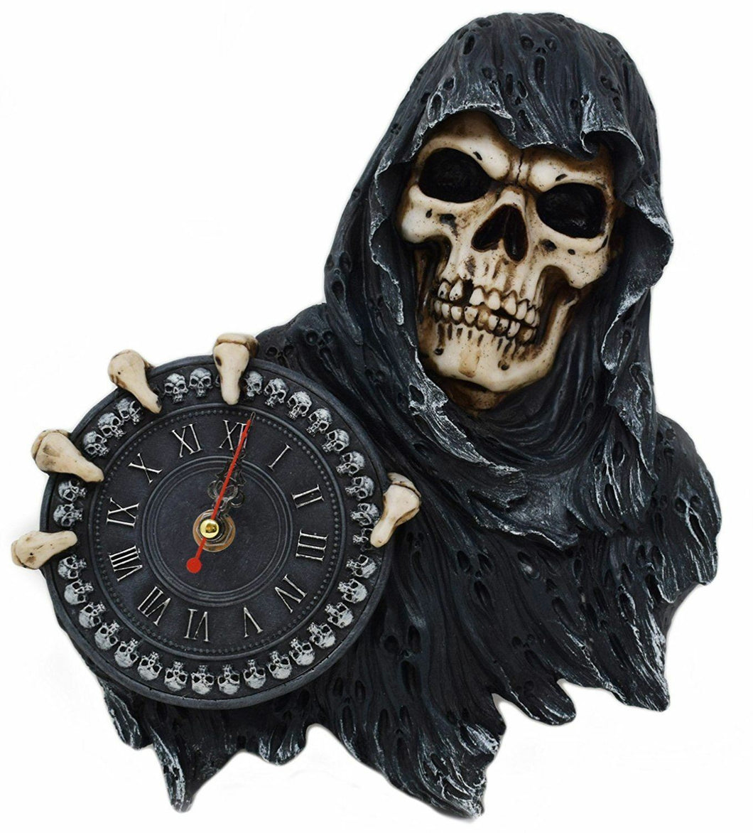 Grim Reaper Skeleton Wall Clock Gothic Gift Skull Ornament