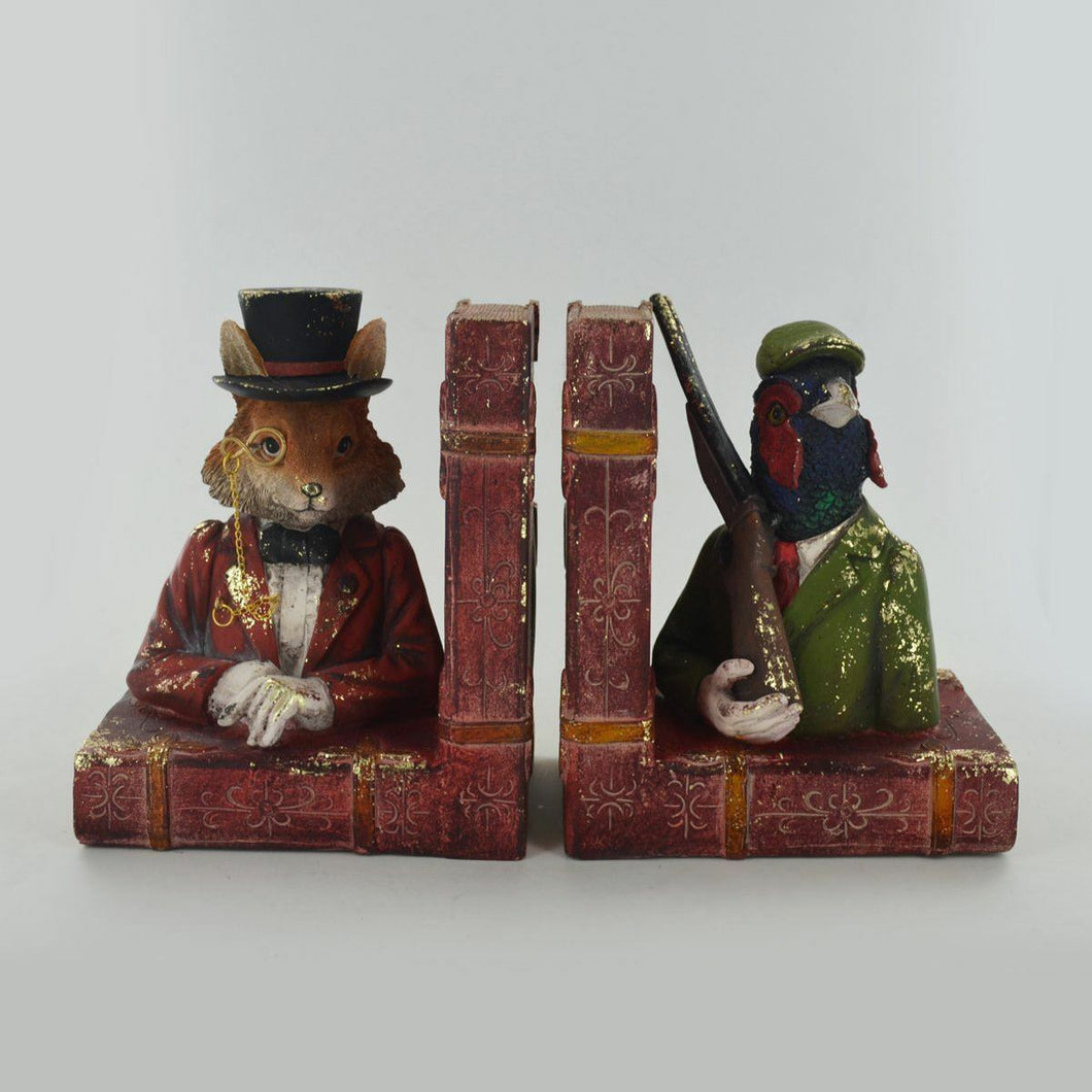 Dapper Animal Bookends Hunting Pheasant & Fox Unique Shelf Tidies
