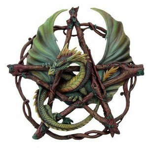 Dragon Wrapped Around Pentagram Gothic Wall Plaque Wiccan Pagan Sculpture