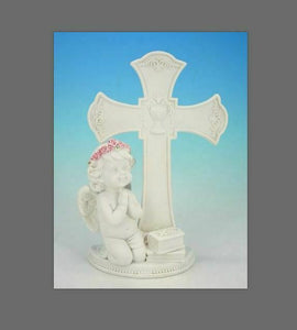 Guardian Angel Figurine Praying Cherub Statue Cross Ornament Sculpture Gift