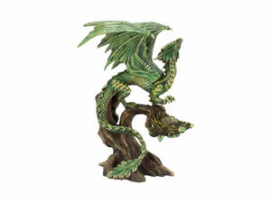 Green Forest Dragon Resting on Tree Trunk Sculpture Statue Figurine Anne Stokes
