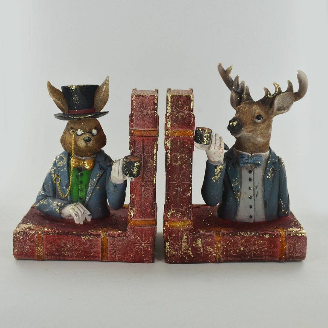Dapper Animal Bookends Countryside Hare & Stag Unique Shelf Tidies