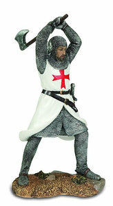 Templar Knight Battle Stance with Hatchet Figurine Statue Crusader Ornament
