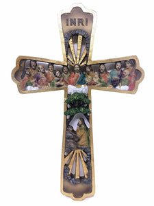 Gold Effect Crucifix Hanging Cross Last Supper Jesus Christ Religious Wall Decor