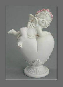 Guardian Angel Figurine Cherub on Heart Statue Ornament Sculpture Gift