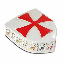 Load image into Gallery viewer, Medieval Style Knight Templar Shield Trinket Box Ornament Crusader Style Gift