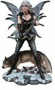 Hunter Winter Fairy and Wolf Display Figurine Statue Ornament